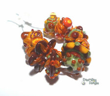 FALL CHACHA Handmade Lampwork Bead Set - MIx of Sienna Red Orange Brown Olive ++