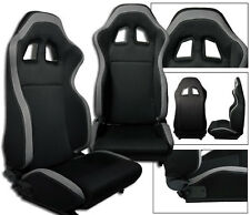 NEW 1 Pair Black + Gray Cloth Racing Seats RECLINABLE + Sliders for Mitsubishi