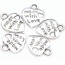 DIY 50X Tibet Silver Made With Love Charm Heart Beads Pendants Jewelry Finding