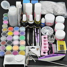 BF Polvere Acrilica Nail Art Kit Gel UV Manicure DIY Punte Smalto Set Pennelli #