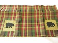 Bear Red Green Tan Check Valance 72 x 14 inches IHF Home Rustic Country Cabin