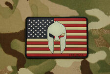 US Spartan Helmet Flag PVC Glow In Dark GITD SEAL Morale Patch Molon Labe Hook