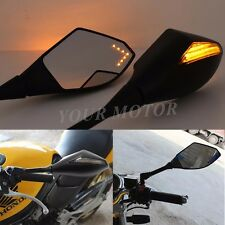 Black FRONT&BACK LED TURN SIGNAL INTEGRATED Motorcycle Mirrors For Street bikes