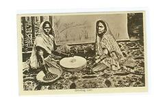 Lal Chand & Sons India postcard Grinding Corn  c 1920 sepia  unused