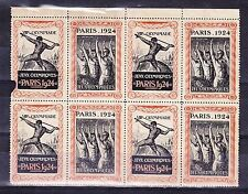 1924 France Olympic games poster stamp cinderella block of 8 MNH