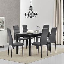 [en.casa] Table de salle à manger mit 6 Chaises noir/gris 140x60 cuisine à