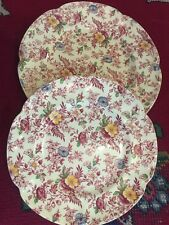 "2 VINTAGE OLD ENGLISH CHINTZ ROYAL CHINA PLATES JOHNSON BROS 10"" & 9"""