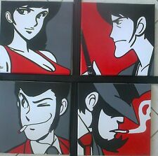AFFARE 4 Quadri MODERNI POP ART 30x30 lupin jigen goemon MARGOT idea Natale