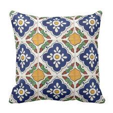 """Mexican Talavera Tile Throw Pillow Case Cushion Cover 18"""" Decorative Pillowcase"""
