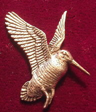Superb Pewter Hunting Flying Woodcock Brooch Pin