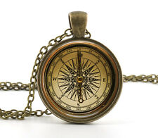 Vintage Compass Pendant Necklace - Old Fashioned Antique Style Picture Jewelry