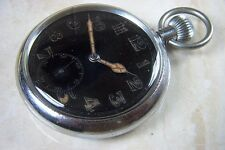 A PRE WW2 BRITISH MILITARY POCKET WATCH WITH UNITAS MOVEMENT c.EARLY 1930'S