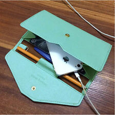 Light Green/mint saffiano leather candy color clutch wallet