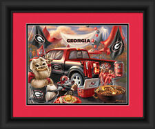 Georgia Bulldogs Framed Tailgate Print - Poster Wood Wall Sign Man Cave
