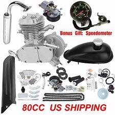 "80cc 2 Stroke Motorized Bicycle Engine Motor kit  26"" or 28"" Bike w/Speedometer"