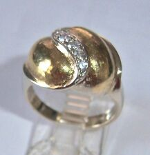VERY DECO TWO TONE LADIES VINTAGE 14K DOME COCKTAIL ANY FINGER DIAMOND RING
