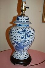 """Vintage Blue White Chinese Chinoiserie crane authentic Ginger Jar Lamp 31"""" tall"""