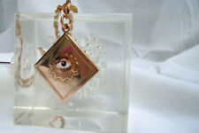 Vintage Odd Fellows Pendant on 14 k Yellow Gold Rope Chain
