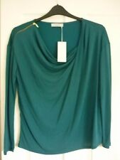 PER UNA DARK PETROL ZIP TRIM LONG SLEEVE JERSEY TOP. UK 18, EUR 46, US 14. BNWT