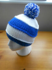 Knitted hat pom pom, Blue and white chelsea, leicester, rangers Football col.