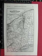 94 YEAR OLD 1922 DELAWARE & HUDSON RAILWAY RAILROAD SYSTEM MAP DEPOT LOCATIONS