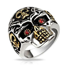 Gold Skull Ring with Red  Eyes Stainless Steel Size 10