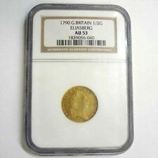1790 Great Britain 1/2 Guinea Gold Coin AU53 George III Eliasberg England KM-608