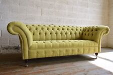 MODERN HANDMADE CHESTERFIELD SOFA COUCH CHAIR 3 SEATER LIME GREEN VELVET