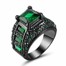 2016 Fashion Green Emerald Black Gold Filled Wedding Bridal Ring Gift Size 7