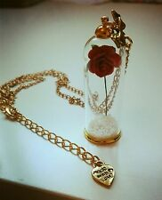 Beauty And The Beast Glass Rose Handmade Romantic Gift Boxed Necklace Wedding