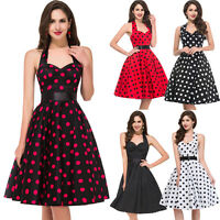 New Floral Sexy Vintage 1950s Style Polka Dot Summer Party Prom Swing Dress S~XL