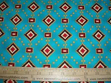 Cotton Fabric Michael Miller Diamonds & Dots Native American motif on Turquoise
