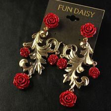 Boucles d`Oreilles Clous Fleur Rose Rouge Retro Style Original Mariage Cadeau G3
