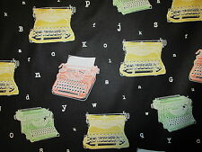 Typewriters Letters Black Type Office Supplies Black Cotton Fabric BTHY
