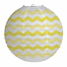 "12"" Mimosa Yellow Chevron ZigZag Party Round Paper Wire Ball Lantern Decoration"