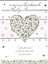Ruby Anniversary Card For Husband. To My Dear Husband On Our Ruby Anniversary