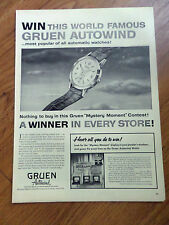 1955 Gruen Watches Ad  World Famous Autowind