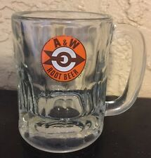 "A & W Root Beer 8 oz Soda Float Mug Small 4.25"" Glass Cup Vtg Arrow Target Logo"
