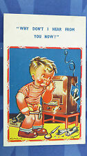 Vintage Comic Postcard 1930s Wireless Radio Set Repairs Theme