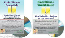 Embrilliance Essentials &Thumbnailer Combo Editing Lettering Embroidery Software
