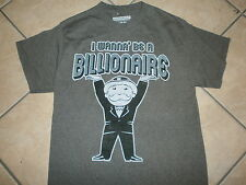 MR MONOPOLY I WANNA BE A BILLIONAIRE T SHIRT Rich Uncle Pennybags Retro Game M