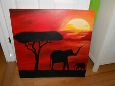 Vintage Estate Original Acrylic Painting from Africa Orange Sunset Marcus Morgan