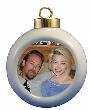 CUSTOM PHOTO CHRISTMAS ORNAMENT POINSETTIA DESIGN- ADD YOUR PICTURE