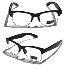 Black Frame Silver Rim Clubmaster nerd 80's Sun-Glasses Clear Lens Half rimless