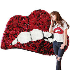 New Big Sequins Red Lip Embroidered Iron On Patches Clothing Applique Decor DIY