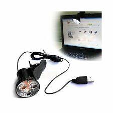 3 LED USB Plug Clip-on Table Desk Reading Light Lamp Bulb For Laptop PC Computer