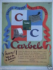 PUBLICITÉ 1943 CARBEL RUBANS CARBONES STENCILS ENCRES- ADVERTISING