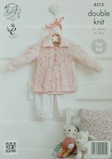 KNITTING PATTERN Baby's Easy Knit Long Sleeve Collared Cardigan DK KC 4315