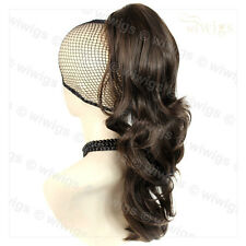 Ladies Long Wavy Dark Coffee Brown Ponytail Claw Clip in Hair Piece Extension UK