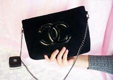 Chanel Precision Beauty Cosmetic Makeup VIP Counter Gift Velour Chain Bag Black